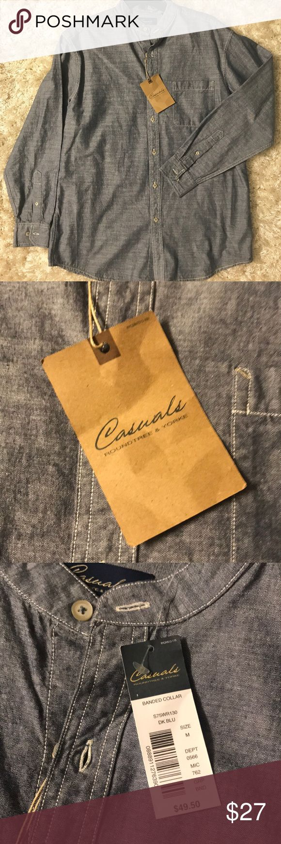 Casuals Roundtree & York banded collar shirt Casuals Roundtree & York banded collar men's shirt. It looks like denim. Size M. New with tags. Roundtree & Yorke Shirts Casual Button Down Shirts