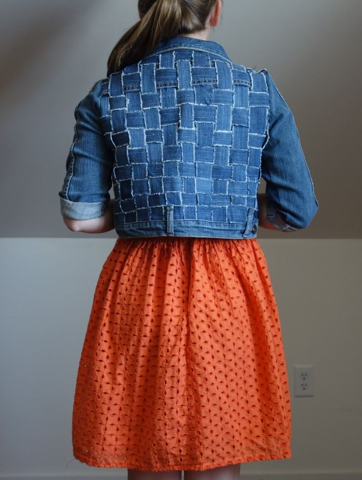 Refashioned jean jacket with woven back. Made by naterjane. click thought to see more of her projects.