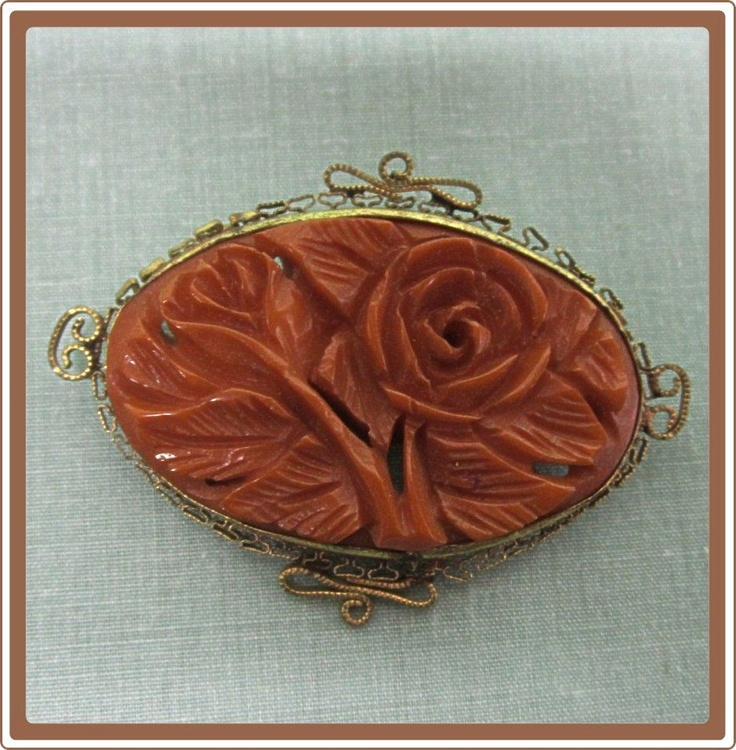 Bakelite Carved Rose Pin set in Filigree Frame
