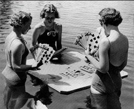 Just because their ship sank, they were determined not to cancel their weekly card game - Cindi Verser http://www.globalmuseum.org #captioncontest #museums #humor #humour