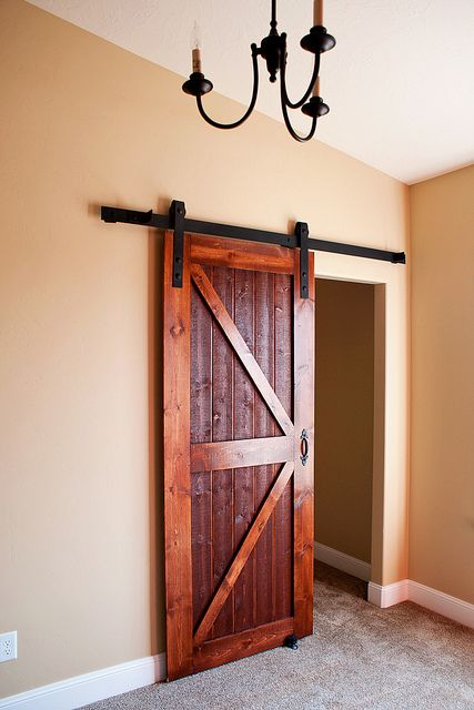 Barn door for bedroom closet door or a den with no door for Small closet barn door