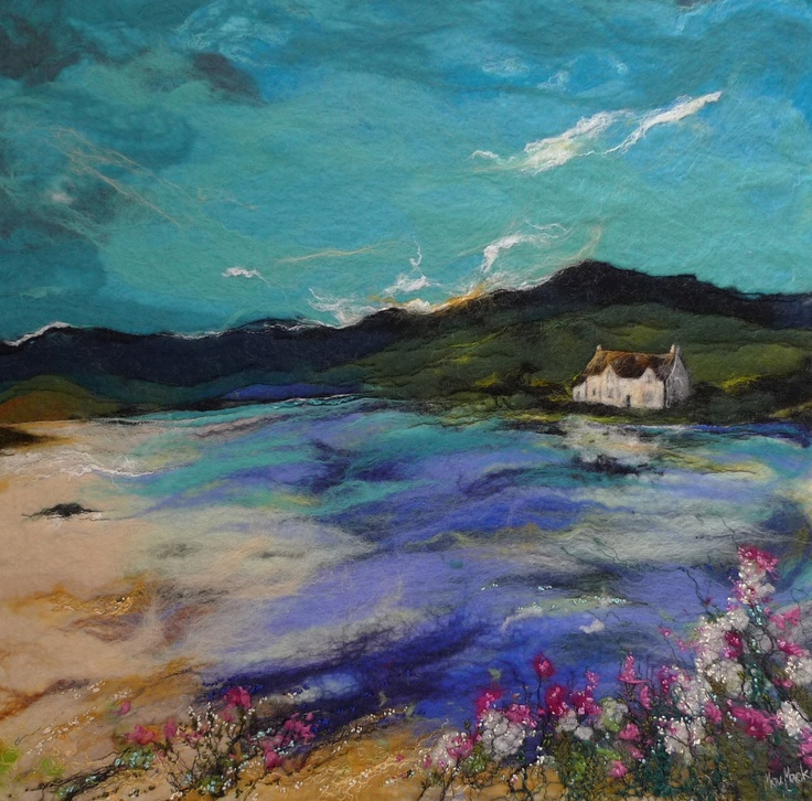 felt painting in grand scales they are amazing.  Moy Mackay - http://www.moymackay.com/