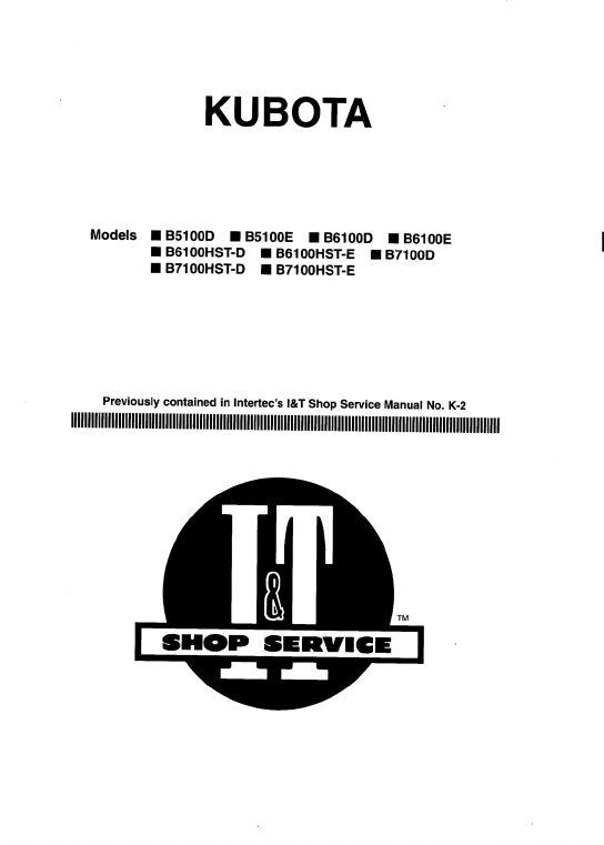 Kubota B5100D, B5100E, B6100D, B6100E, B7100D Tractor