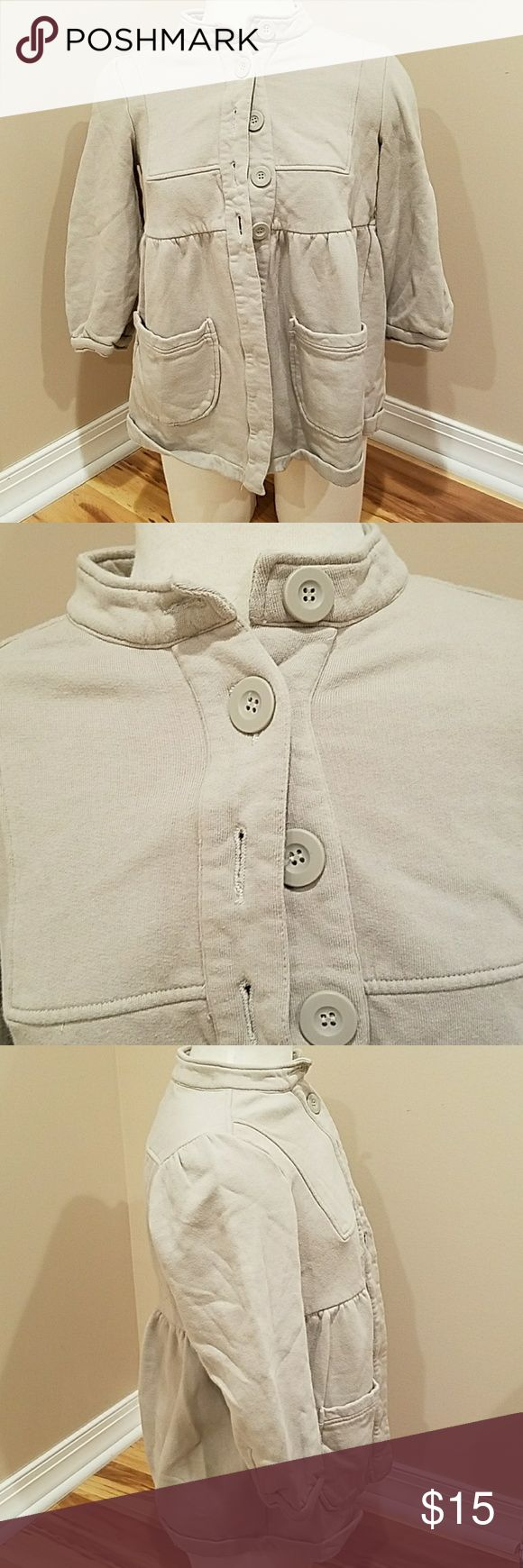 GRAY FRENCH CONNECTION JACKET!! Open jacket with button up the front. Mid sleeve , size 6.  100 percent cotton. Gently worn very Good condition. French Connection Jackets & Coats