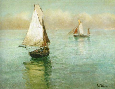 """Fiskebåtar utanför Dieppe"" oil  by Fritz Thaulow"