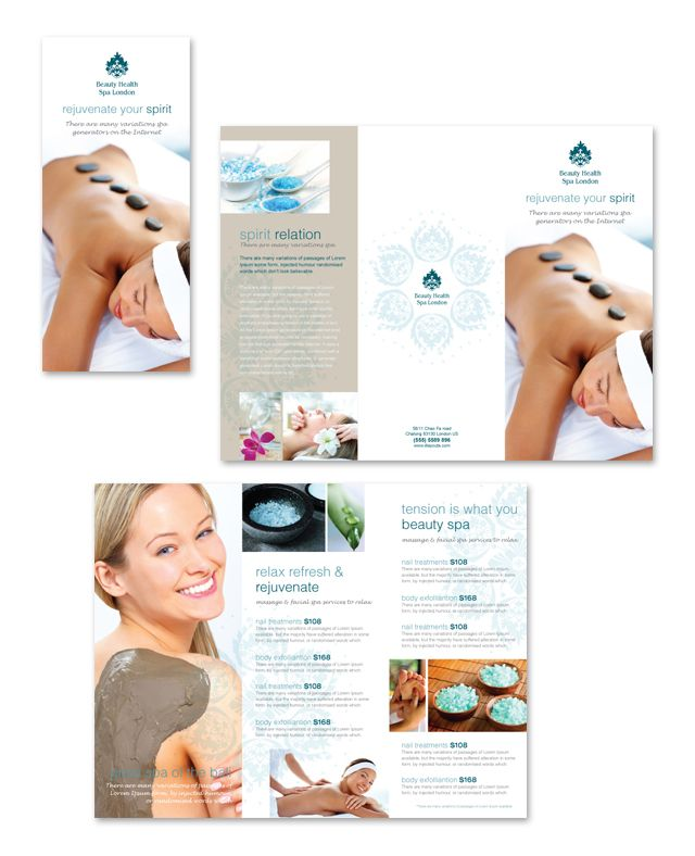 Day Spa & Beauty Salon Tri Fold Brochure Template http://www.dlayouts.com/template/795/day-spa-beauty-salon-tri-fold-brochure-template