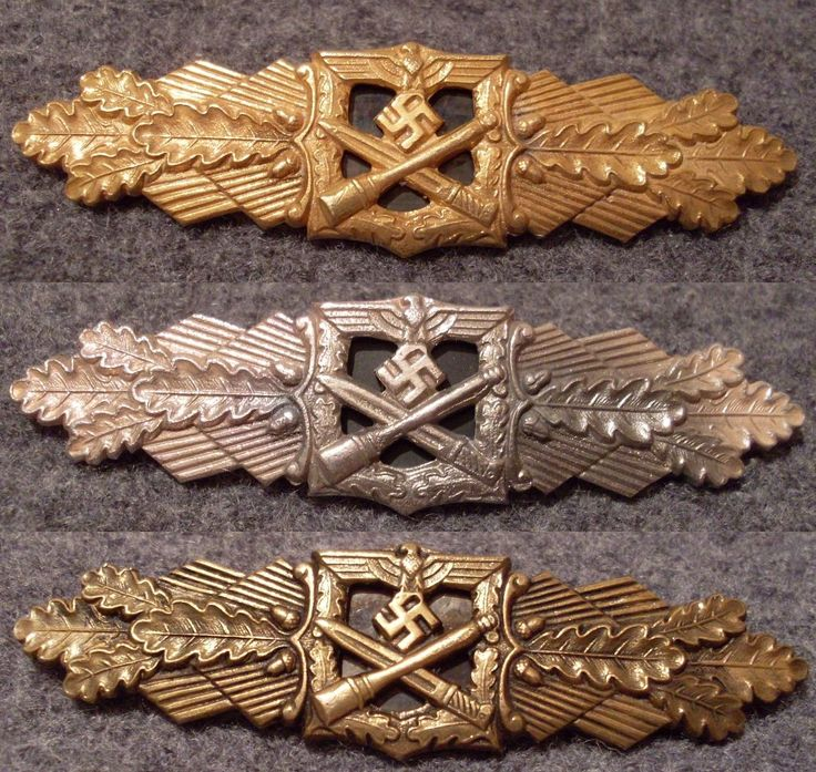 The Close Combat Clasp (German: Nahkampfspange) is a military award instituted on 25 November 1942 for achievement in hand to hand fighting in close quarters.It came in 3 classes: Bronze, Silver and Gold.Highly coveted, the clasp was valued higher than the Knight's Cross of the Iron Cross.The award came only after extremely close scrutiny.The Gold for example was awarded to only 631 soldiers --out of an approximate total of 18 million.
