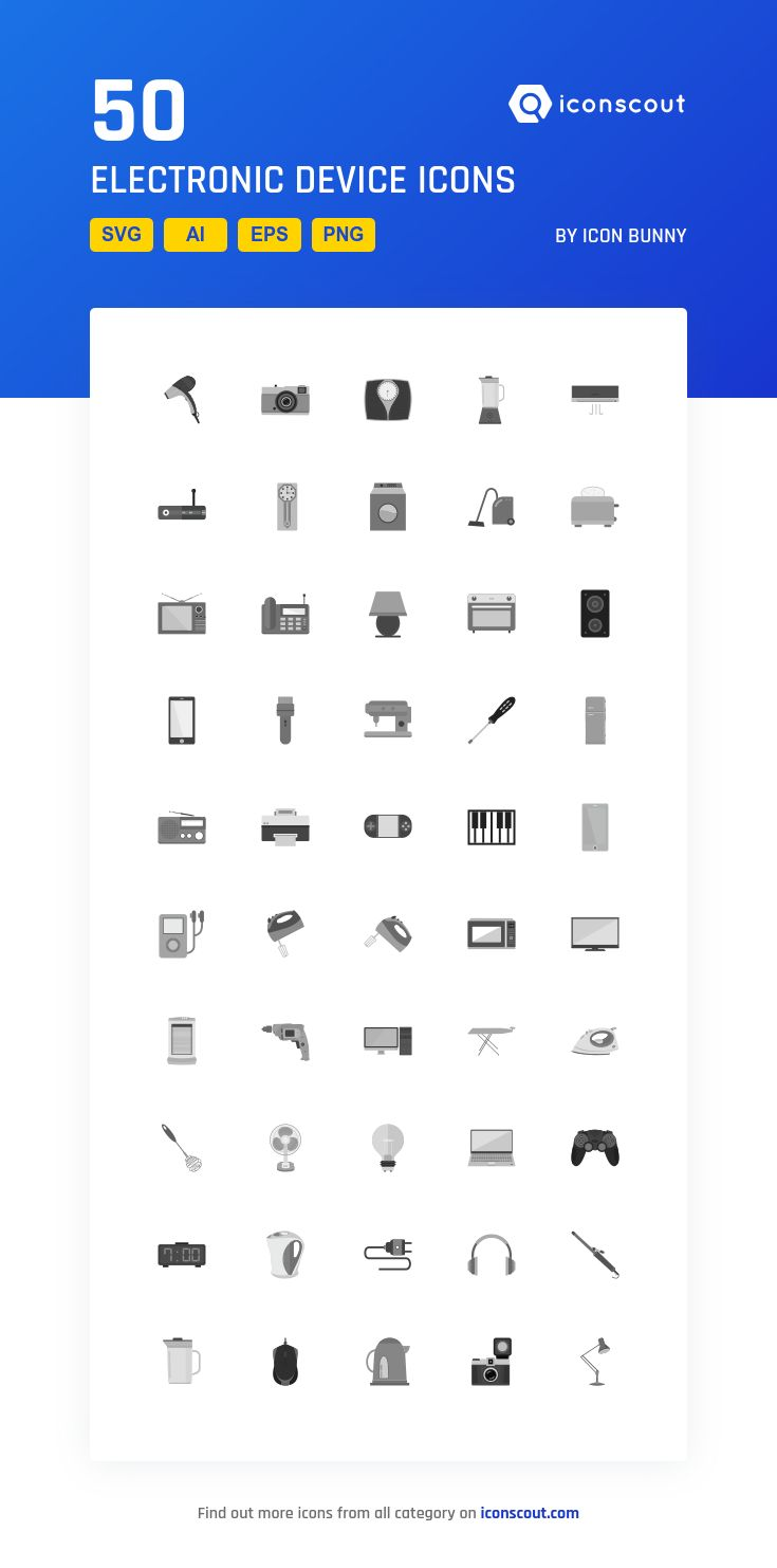 Electronic Device  Icon Pack - 50 Flat Icons