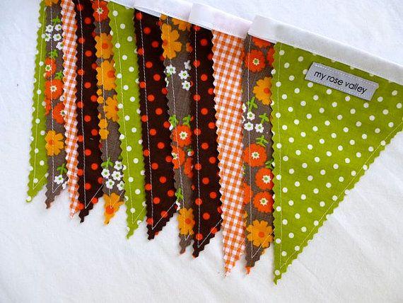 Fabric Bunting Brown Orange Green Retro Fabric by MyRoseValley
