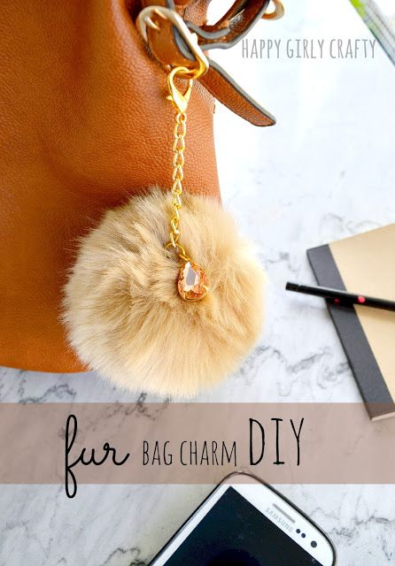 happy girly crafty: How to make a trendy faux fur pompom bag charm!