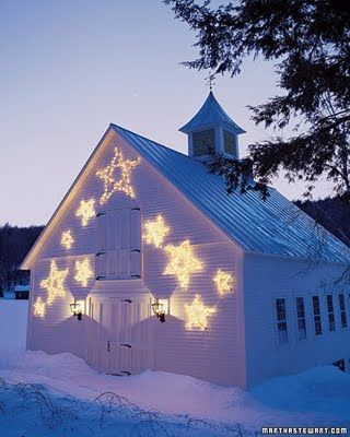 white wood and snow and star lights
