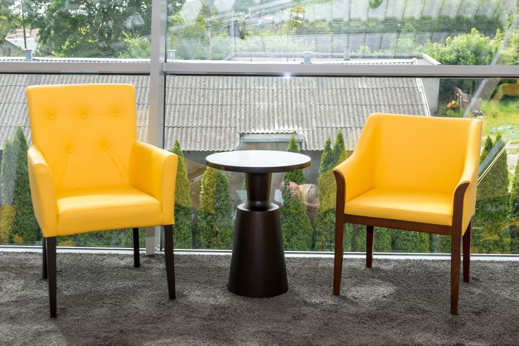 Modern form, natural leather, beauty yellow colour -  armchair propositions from Klose #KloseFurniture #modernarmchair #solidwood #naturalleather