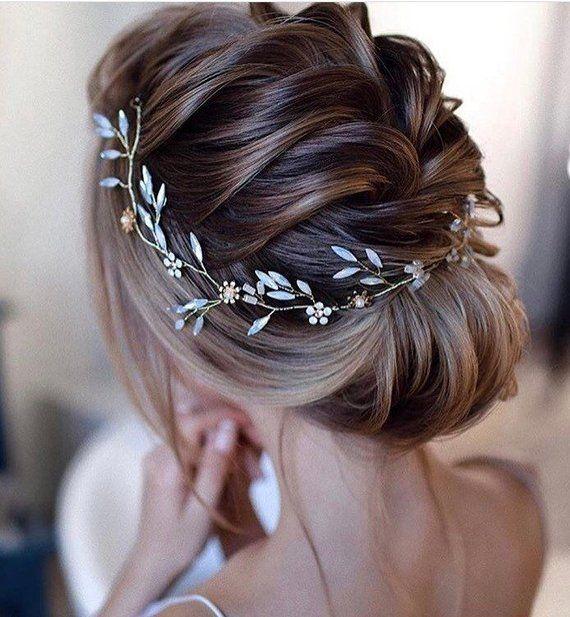 opal colored stone Hair Vine, wedding bridal hair wreath, Wedding bridal Headpiece, pearl and rhinestone