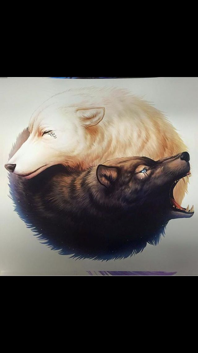 Wolf yin yang tattoo idea
