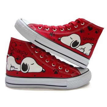 2013 spring hot-selling medium cut red lacing SNOOPY doodle canvas shoes hand-painted fashion Pumps