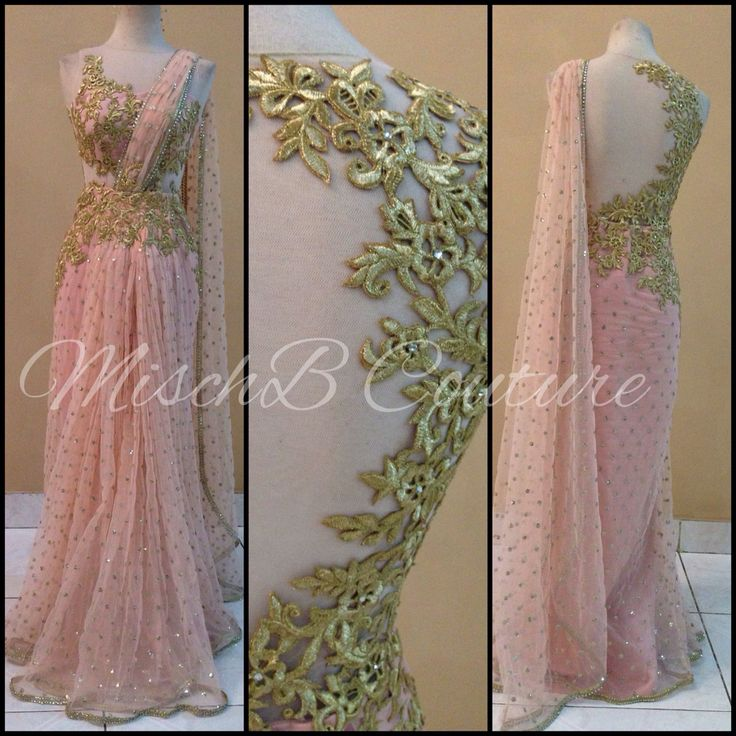 Blush saree gown by MischB couture, desifashion desi style desi couture