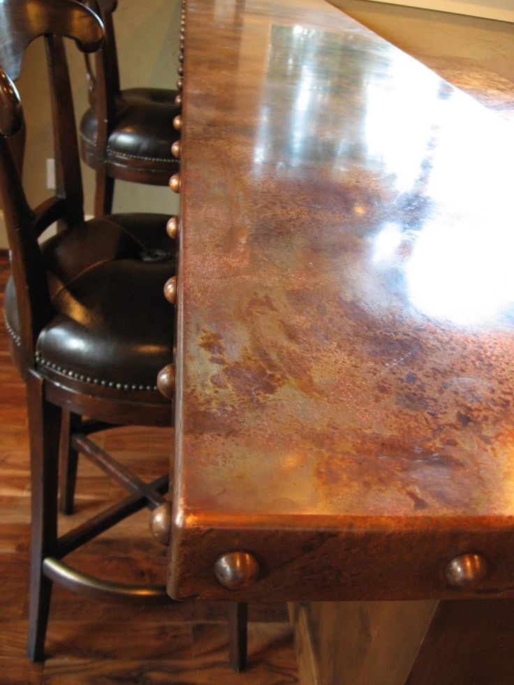 """New Custom Copper Bar top made from 1/8"""" thick Owner supplied Copper Sheet (The Metal had Family """"History""""). The Custom ..."""