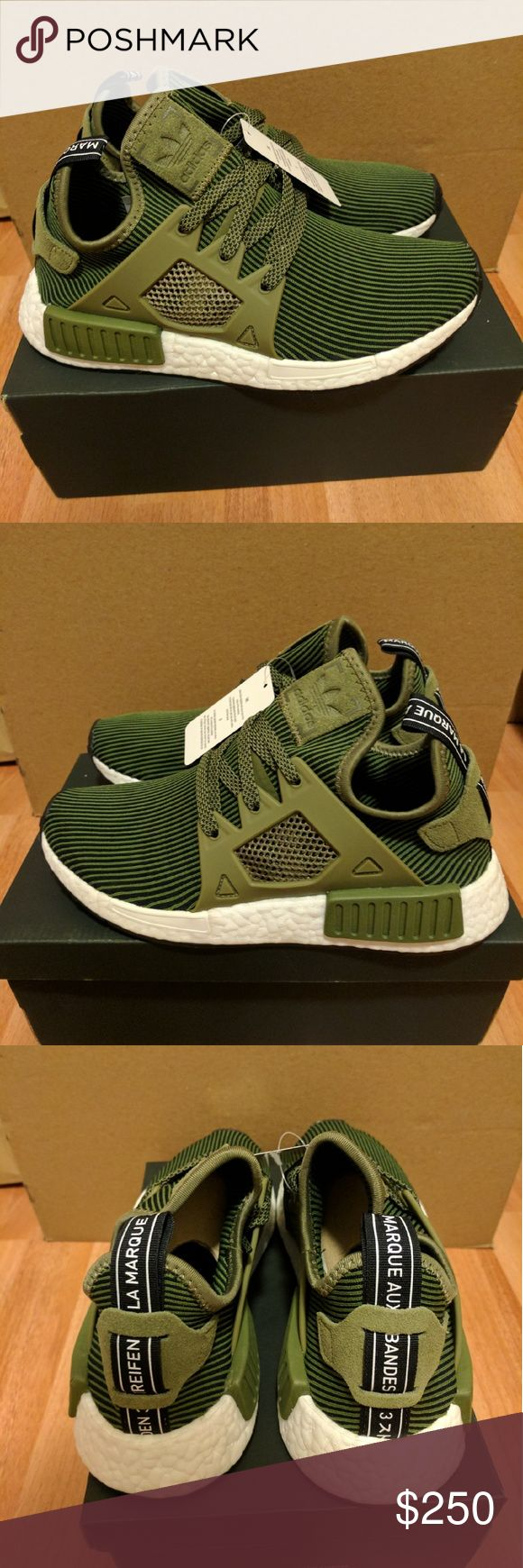 NEW ADIDAS NMD PRIMEKNIT XR1 OLIVE GREEN SIZE 7 Newest colorway for adidas NMD, sold out everywhere!  Men Size 5 Women size 7  Deadstock.  100% authentic.  Will be shipped with original box and protection box.  No trades.  Price is firm.  No returns for incorrect size, size is as described in description  Check out my account for more shoes and sizes!  Tags: Adidas, Jordan, Nike, retro, boost, Yeezy, ultra boost, prime knit, supreme, make up, contacts Adidas Shoes