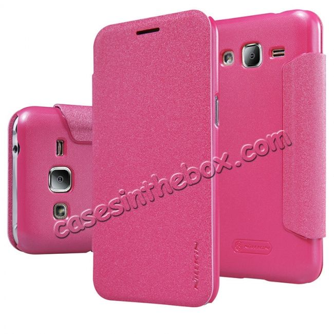 Nillkin Sparkle Series Side Flip Ultra-Slim Pu Leather Case For Samsung Galaxy J2 - Rose Red US$16.79