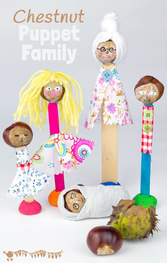 Make a Puppet Family with this fun and creative chestnut craft for kids. These chestnut people will give kids hours of imaginative play & story telling. (buckeye craft/ conker craft)