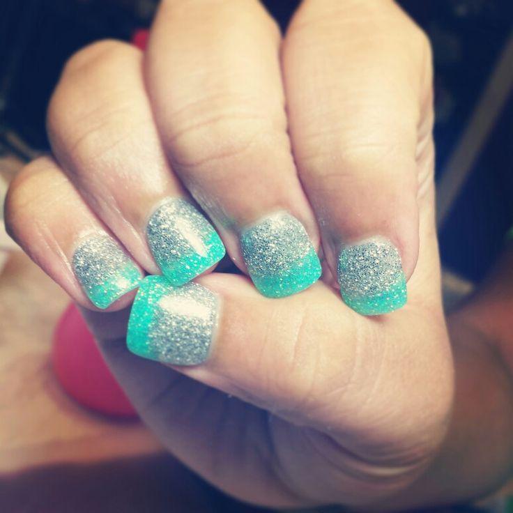 2 tone solar nails in glitter