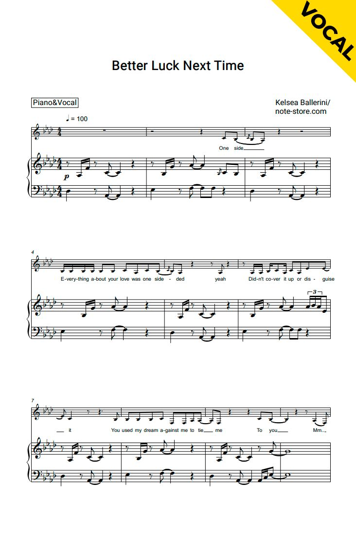 Better Luck Next Time Piano Vocal With Images Sheet Music