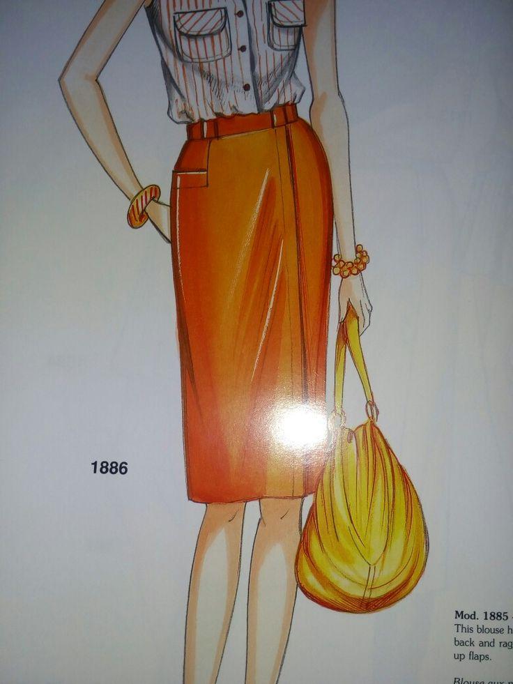 £: gonna da realizzare in lino o popeline di cotone, tasca singola posta sul fianco, piega laterale che simula apertura a portafoglio - by Moda Marfy ss/fw 2009