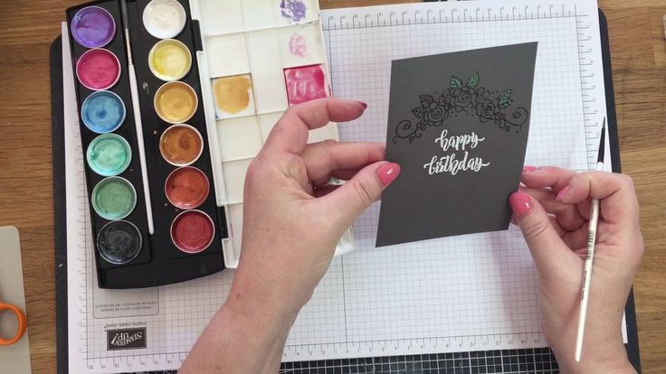 A birthday card using the Tammy Tutterow Flower Swag stamp and showing two different looks on light and dark card stock with watercolours. ——— S U P P L I E ...