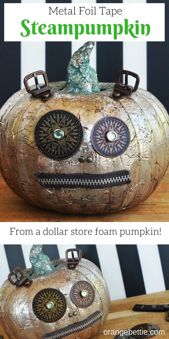 Use metal foil tape to make over a dollar store foam pumpkin into this awesome steampunk pumpkin - a steampumpkin!
