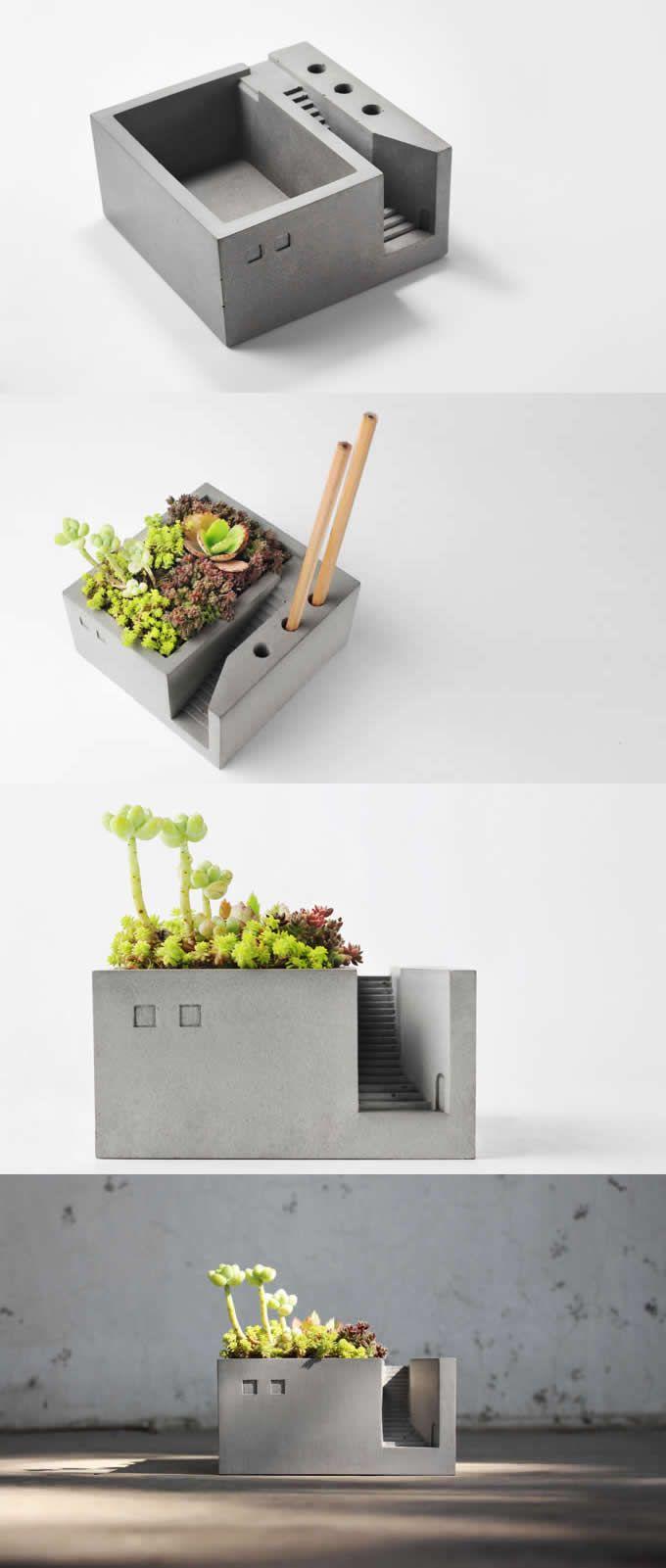 Pen Pencil Holder Stand Concrete Desktop Organizer Succulent Planter / Plant Pot / Flower Pot / Bonsai Pot