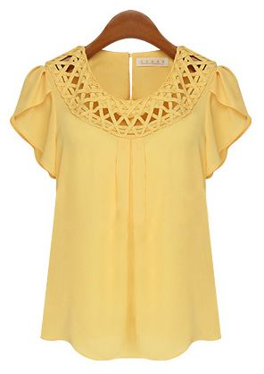 Yellow Short Sleeve Hollow Loose Chiffon Blouse.  I have this in a Peach Color, Love it!