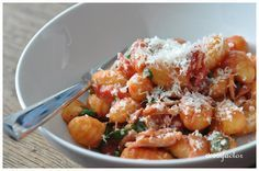 Pan fried gnocchi with tomato, bacon and basil. Easily one of my all time fave recipes.