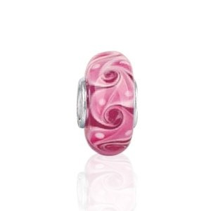 Bling Jewelry 925 Sterling Silver Swirl Murano Pink Glass Bead Pandora Charm Compatible, (chamilia, murano, beads, bling crystal bead, charm, sparkle, trollbeads)
