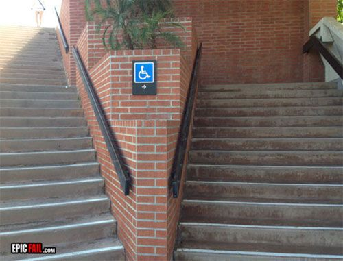 115 best images about accessibility bloopers on pinterest for Handicap stairs plans