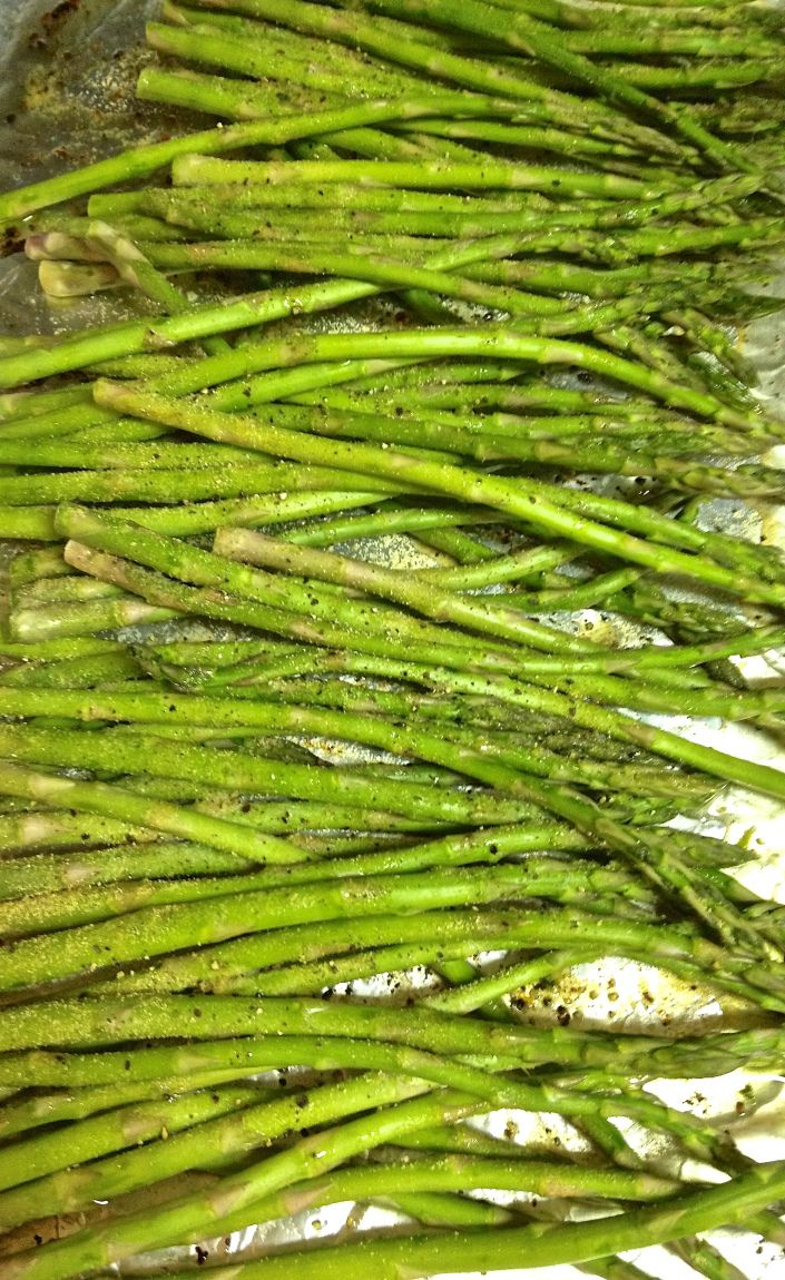 Lemon Garlic Asparagus (in oven).