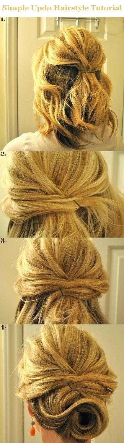 Half to Full Updo   10 Beautiful & Effortless Updo Hairstyle Tutorials for Medium Hair   Gorgeous DIY Hairstyles by Makeup Tutorials at http://makeuptutorials.com/10-beautiful-effortless-updo-hairstyle-tutorials-medium-hair/