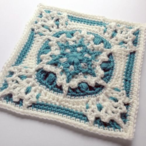 Amazing!! Blizzard Warning Square Crochet Pattern | This textured snowflake square will make any afghan pop!
