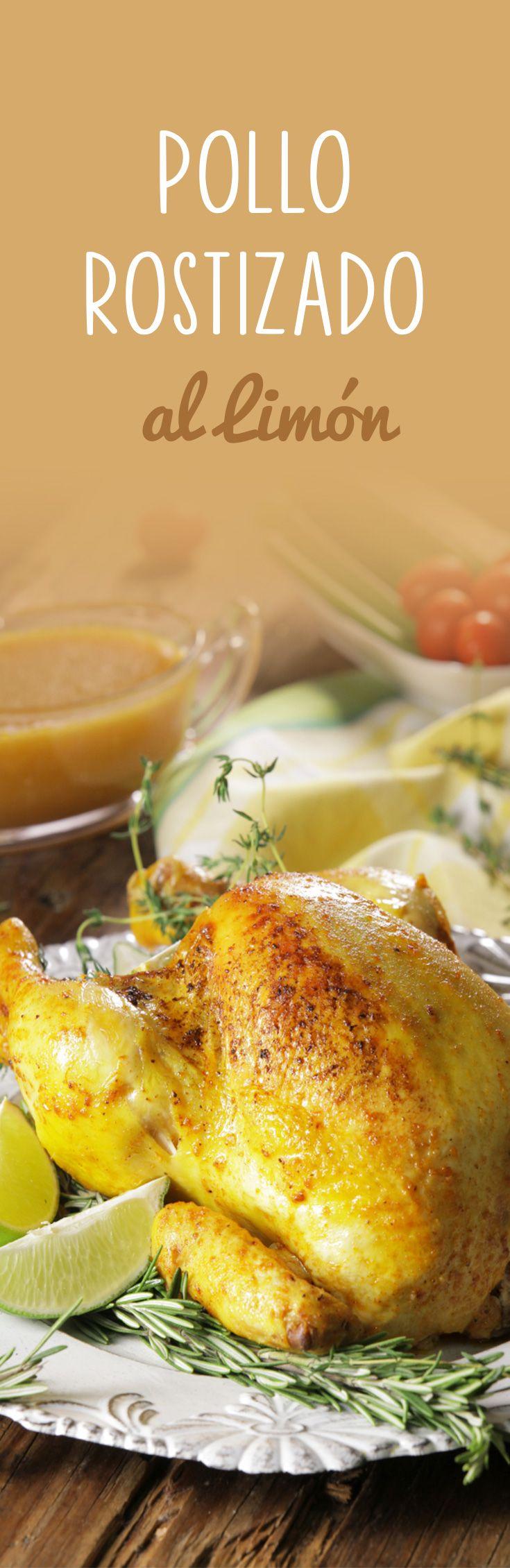 Delicioso pollo rostizado marinado en una salsa de limón y rostizado a fuego lento hasta que quede dorado. Fácil y espectacularmente jugoso. Acompaña con puré de papa.