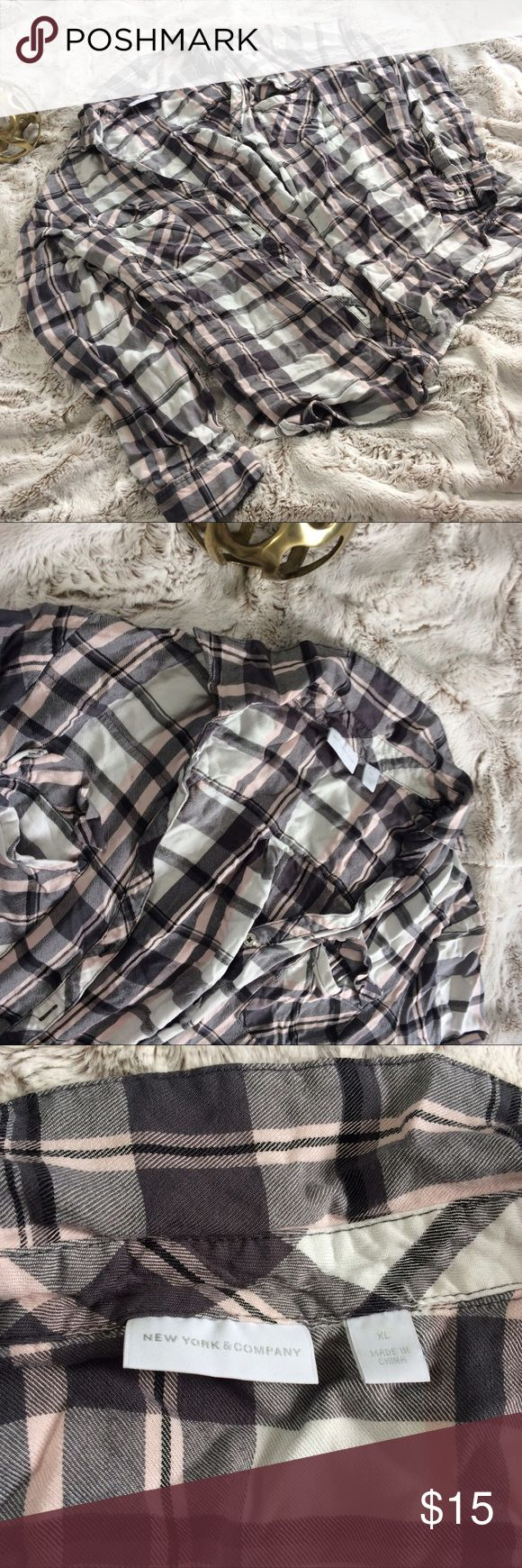 Grey and pink flannel. Newyork and company like new flannel shirt. New York & Company Tops Tees - Long Sleeve