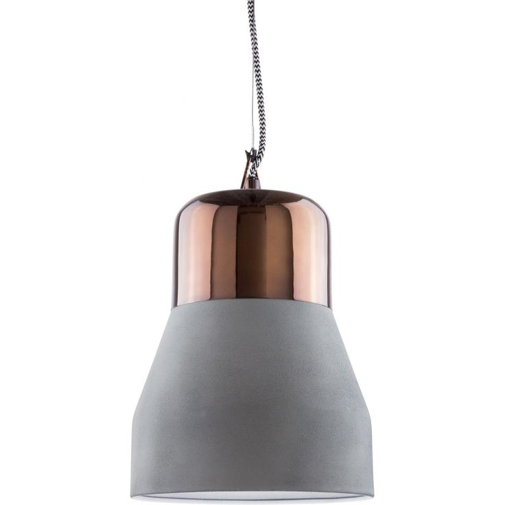 Constructed from a burnished copper finished cap and a contrasting concrete finish shade. This light is great on its own or clustered with other lights in this range. Please use a licenced electrician to install this light