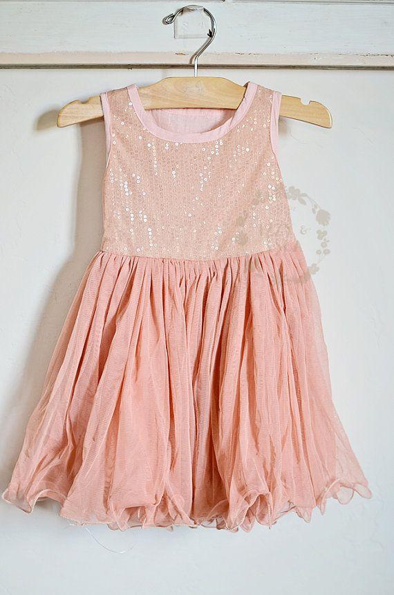 Girl's Sequined Ballet Dress   Salmon Dress   Peachy Dress   Birthday Dress by Izzy & Isla