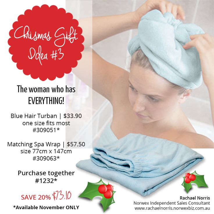 Christmas gift ideas Norwex spa wrap and matching blue