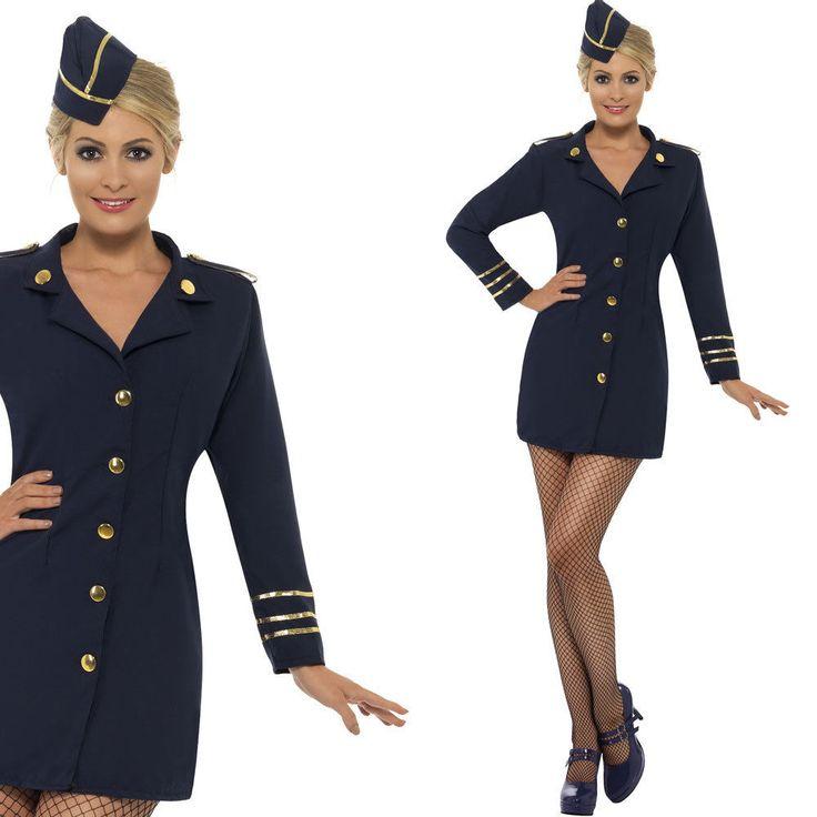 Ladies Cabin Crew Fancy Dress Uniform Costume Hostess Flight Attendant Smiffys    eBay