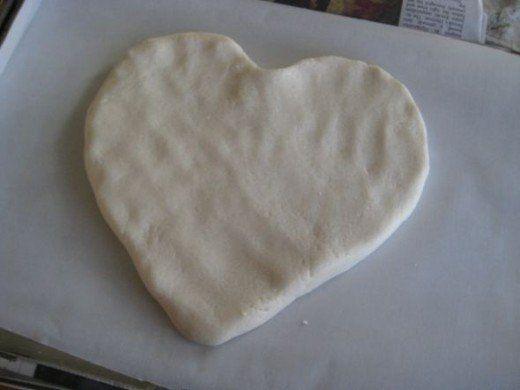Our salt dough heart, ready for a footprint.