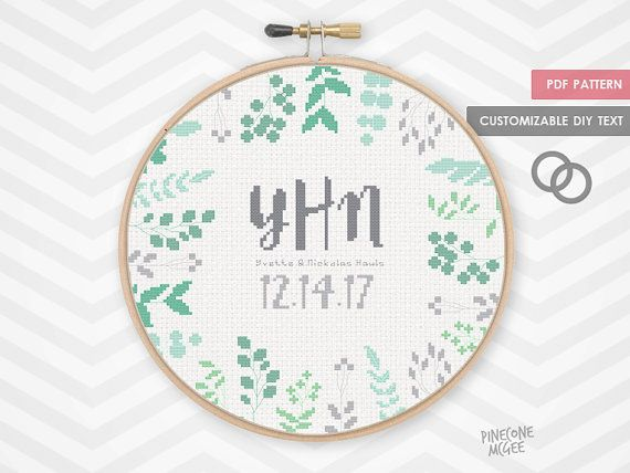 FERN WEDDING MONOGRAM counted cross stitch pattern engagement announcement record xstitch sampler gift word typography alphabet  chart pdf by PineconeMcGee