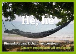 Uitnodiging voor pensioenfeestje met hangmat / Invitation to a party for a person going into retirement