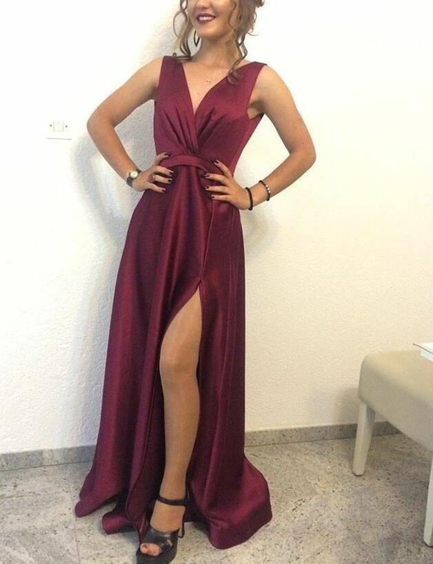 b1eaaff47e V-neckline Long Satin Burgundy Slit Formal Dresses