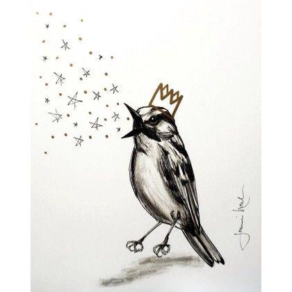 Le petit roi oiseau By : Joannie Houle - Art et Illustration $60.00 Œuvre fait main, crayons à l'encre d'archive et crayons graphites sur papier d'illustration de qualité. Cette pièce unique est signée et authentifiée par l'artiste. (dessin, illustration, enfant, roi, animal, oiseau, nature, étoiles, noir, gris, blanc)