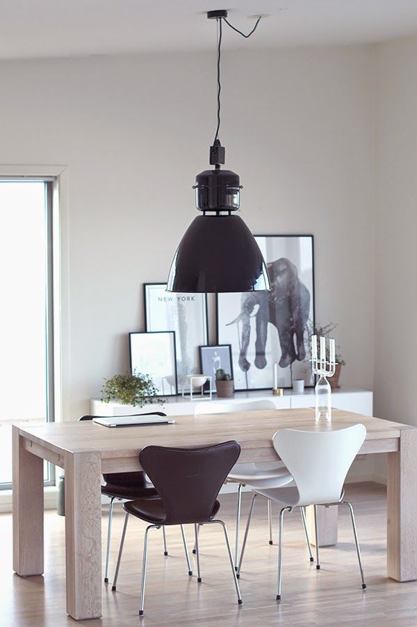 www.thewhitebox.no Chairs from Arne Jacobsen, lamp from House Doctor.