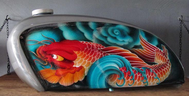 Hand shaped airbrushed tank  #motorcycle tank #airbrush tank #airbrush motorcycle tank #tattoo art #koi tattoo art #japanese koi #koi airbrush #bali #motorcycle parts #custom motorcycle parts #custom motorcycle gas tank